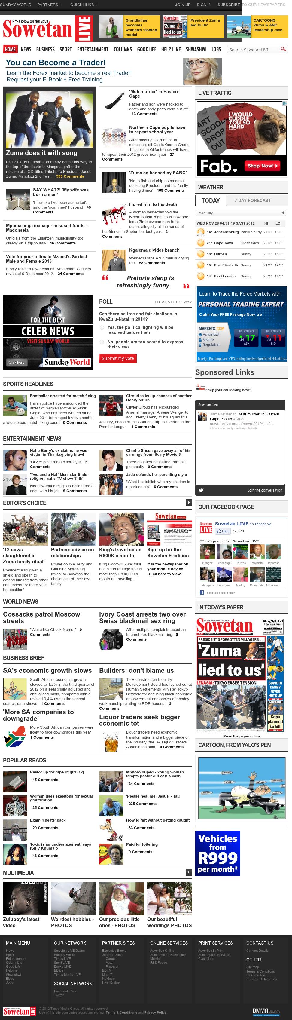 Sowetan Live at Wednesday Nov. 28, 2012, 3:36 a.m. UTC