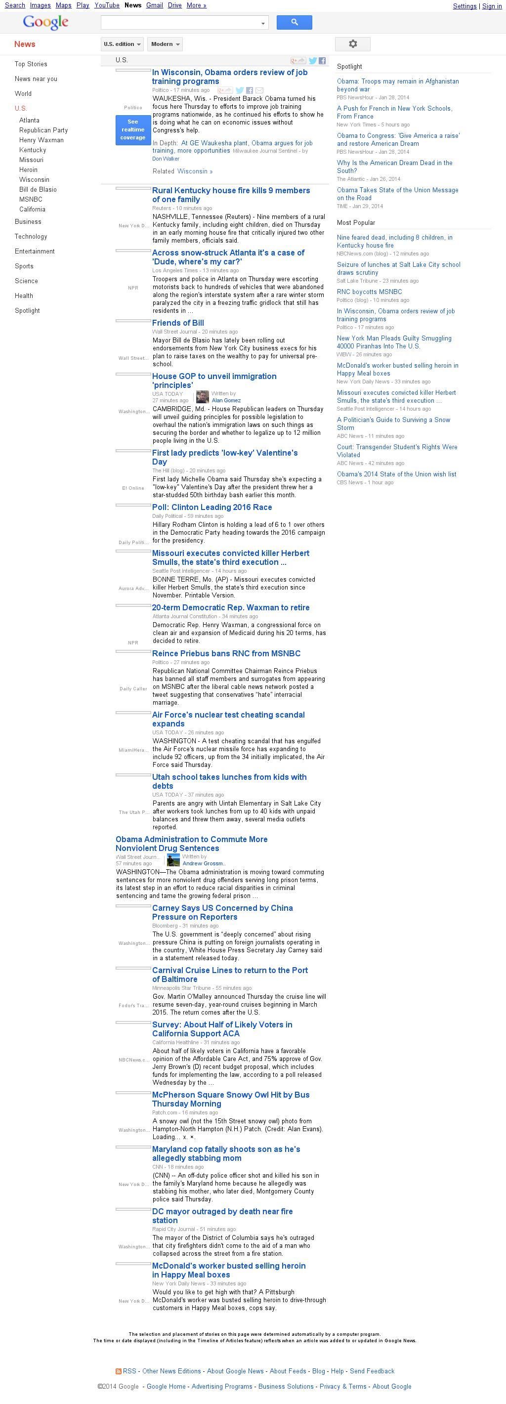 Google News: U.S. at Thursday Jan. 30, 2014, 7:09 p.m. UTC