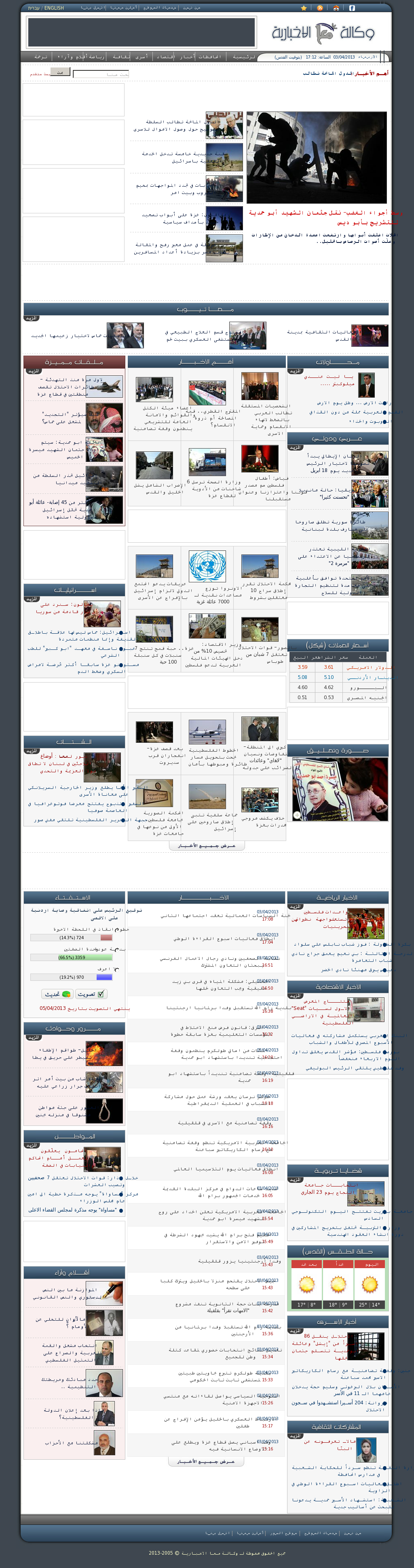 Ma'an News at Wednesday April 3, 2013, 2:12 p.m. UTC