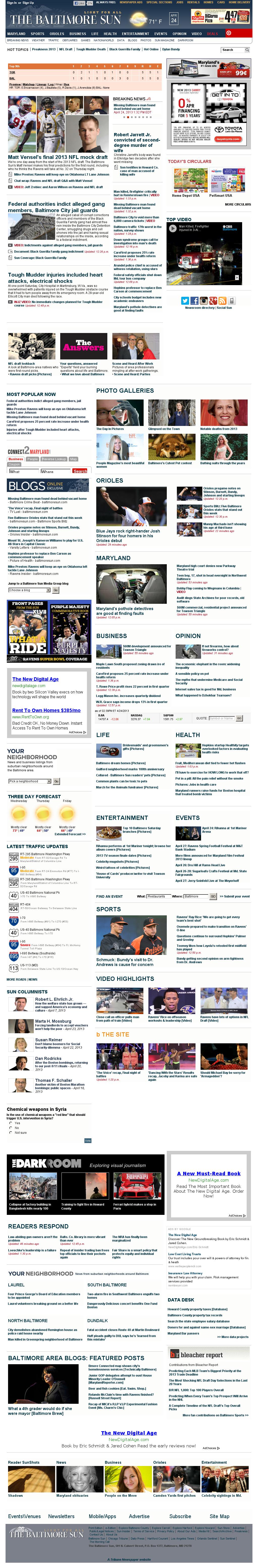 The Baltimore Sun at Wednesday April 24, 2013, 7:01 p.m. UTC
