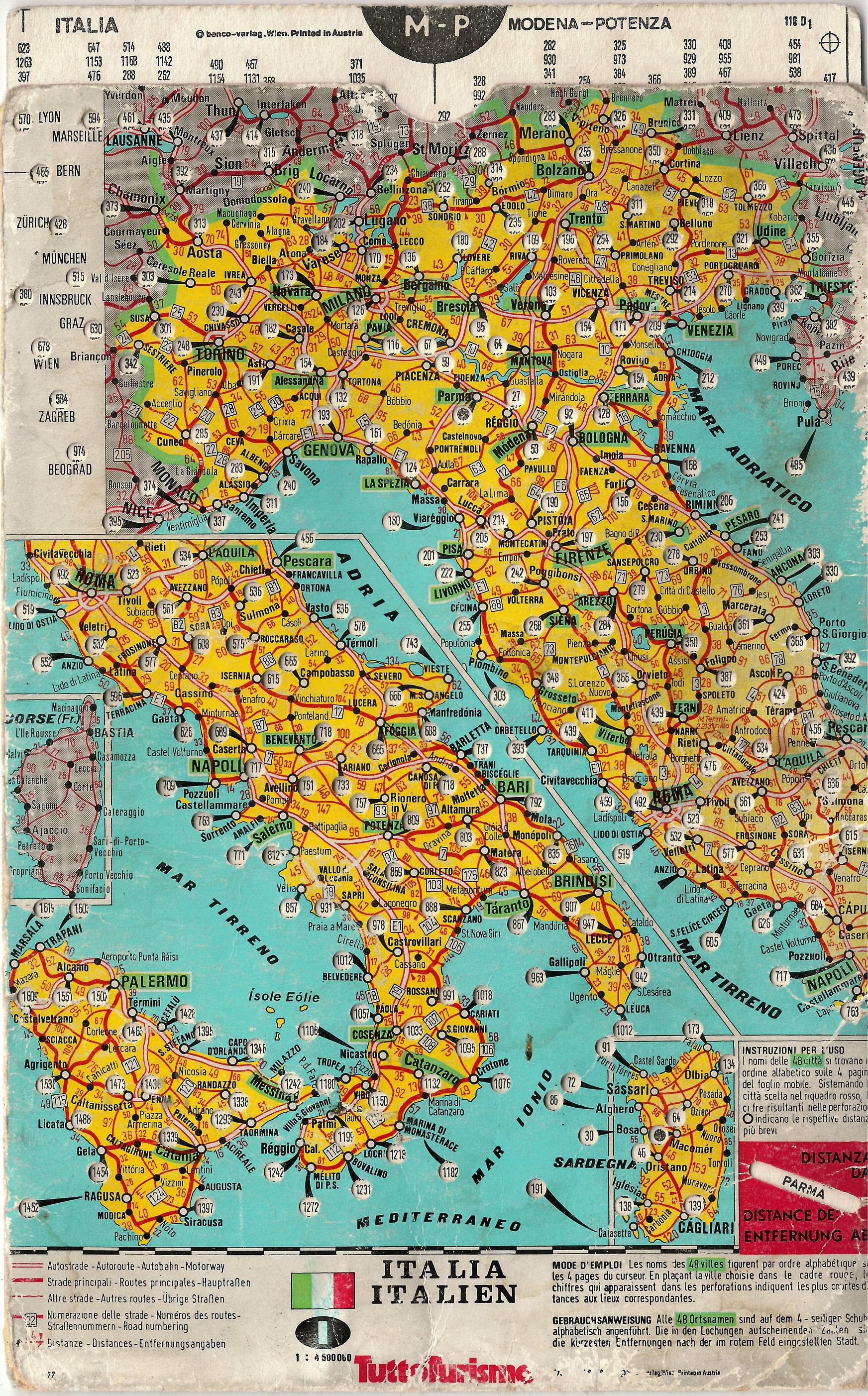 Cartina Italia Con Distanze Km.Carta Delle Distanze Italia Distance Map Italy Benco Verlag Free Download Borrow And Streaming Internet Archive